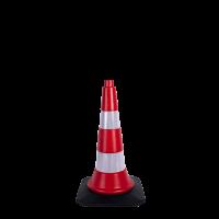 50 cm Reklam ve Trafik Konisi (Kauçuk Tabanlı)